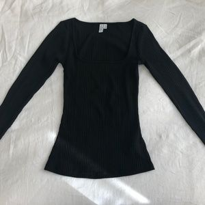 03e9162c8bcbe Other Stories Tops -   Other Stories Fitted Square Neck Top Black ...